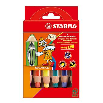 STABILO Woody 3 in 1 Fall-6 Farben