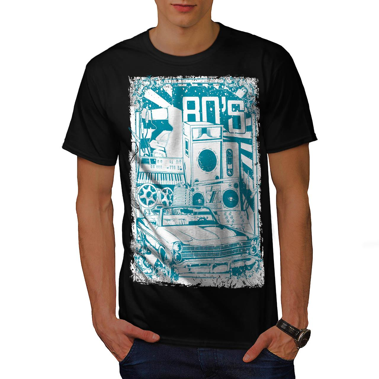 DJ 80's Theme Night Music Car Men Black T-shirt | Wellcoda