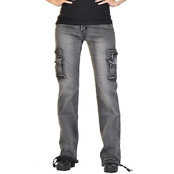 Wide Leg Faded Vintage Wash Denim Cargo Pants Combat Jeans - Grey