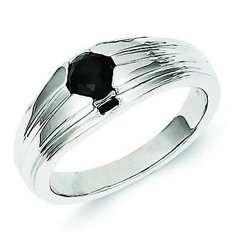 Sterling Silver Round Black Diamond Mens Ring - Ring Size: 9 to 11