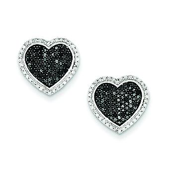 Sterling Silver Black and White Diamond Heart Post Earrings - .66 dwt