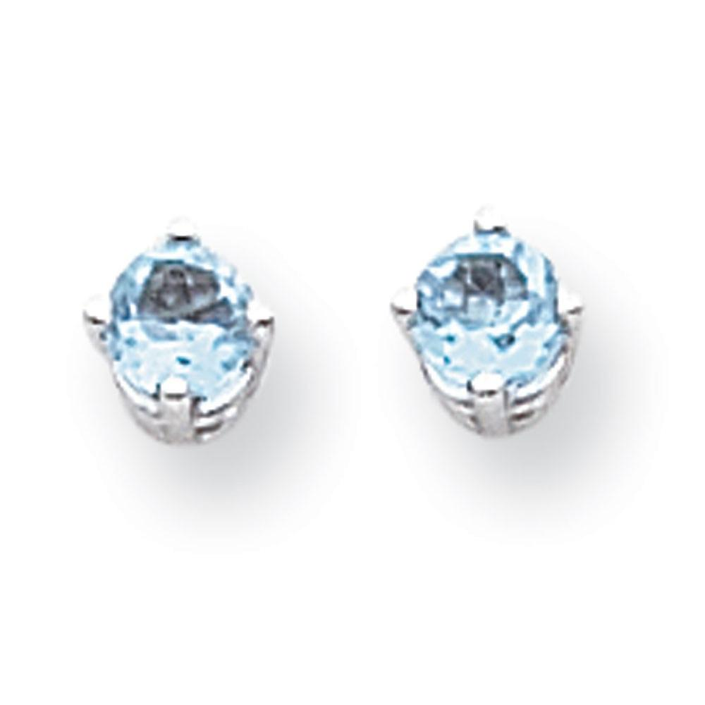 14k blanc or Post Earrings 4mm bleu Topaz Earrings - .60 cwt