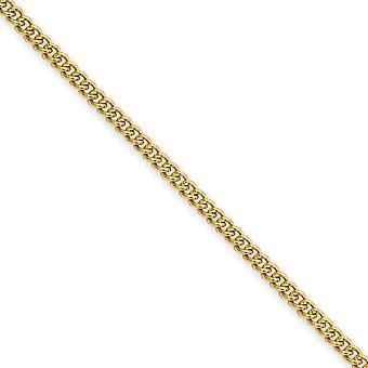 Rustfrit stål Ip forgyldt 2,25 mm bremse kæde halskæde - længde: 18-24