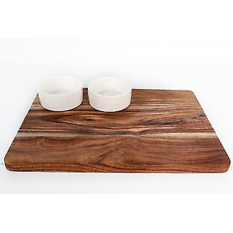 RESTANGLULAR ACACIA WOODEN SERVING BOARD WITH 2 BOWLS FOR SNACKS