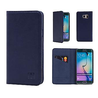 32e portefeuille classique en cuir véritable pour Samsung Galaxy S6 Edge G925 - bleu marine