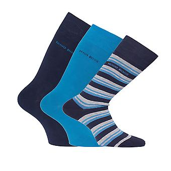 BOSS Three Pack Gift Set Striped, Blue & Navy Stretch Cotton Socks