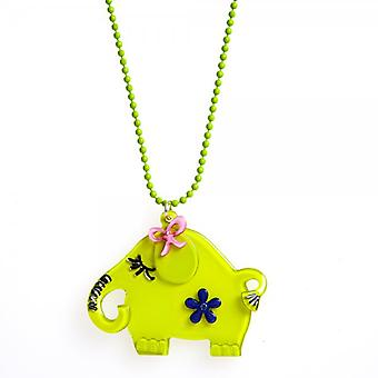 Camille Lime Green Elephant Necklace