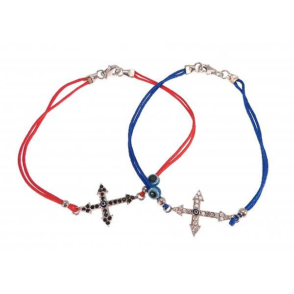 W.A.T Sterling Silver And CZ Crystal Cross Friendship Bracelet