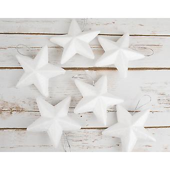 6 Large Polystyrene Star Ornaments with Hanging Cord to Decorate - 100mm