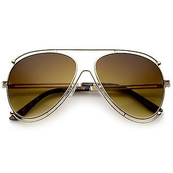 Moderne Metall Grenze Frame Crossbar Gradient Lens Aviator Sonnenbrillen 59mm