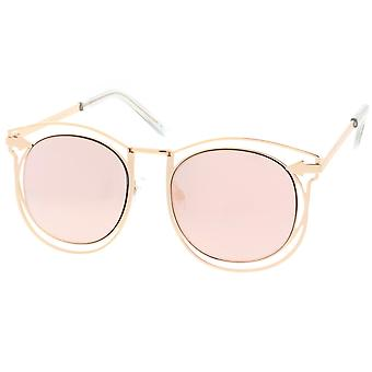 Oversize Open Metal Horn Rimmed Sunglasses With Arrow Design And Round Mirror Flat Lens 55mm