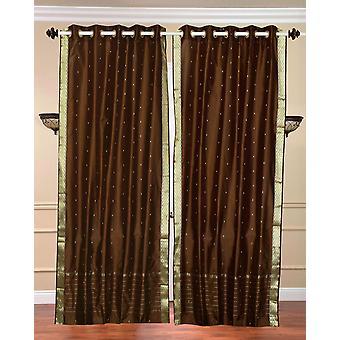 Anello superiore Sari pura tenda di Brown / drappo / pannello - pezzo
