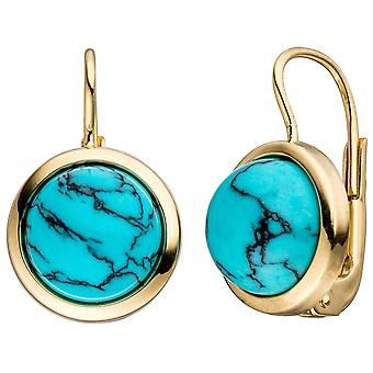 Turquoise earrings round boutons 333 Gold 2 turquoise earrings gold earrings