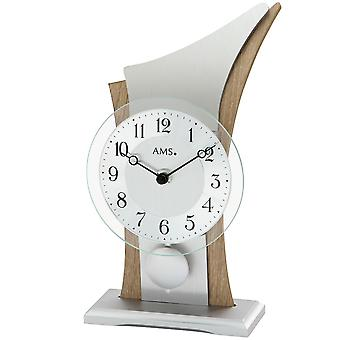 AMS table clock pendulum clock silver quartz clock with pendulum wooden case mineral glass