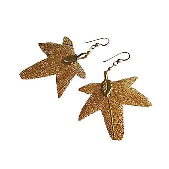 Maple Leaf leaves maple electro plated leaf earrings, gold-plated earrings