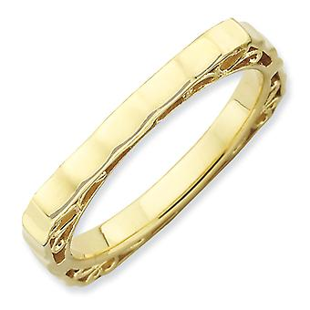 2.25mm Sterling Silver Stackable Expressions Polished Gold-plate Square Ring - Ring Size: 5 to 9
