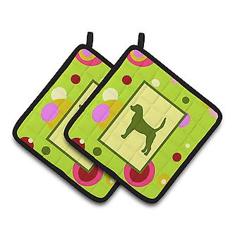 Lime Green Dots English Foxhound Pair of Pot Holders