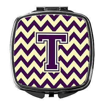 Carolines Treasures  CJ1058-TSCM Letter T Chevron Purple and Gold Compact Mirror