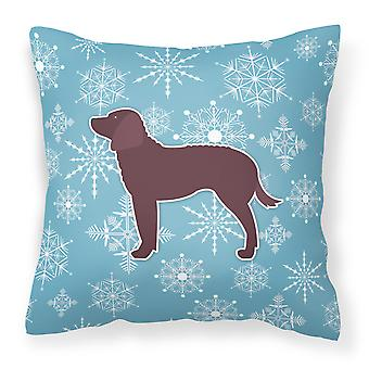 Winter Snowflake American Water Spaniel Fabric Decorative Pillow