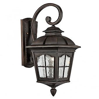 Searchlight 1573BR Pompeii One Light Wall Lantern Light With Upper Curved Arm In Bronze
