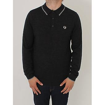 Fred Perry Fine Merino Knitted Polo - Charcoal