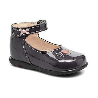 BOPY Bopy Toddler Girls Grey Patent Leather Shoes With Whiskers