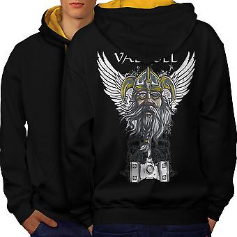 Valholl North War Men Black (Gold Hood)Contrast Hoodie Back | Wellcoda