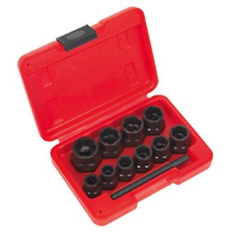 Sealey Ak8184 Bolt Extractor Set 11Pc 3/8In Sq Drive Or Spanner