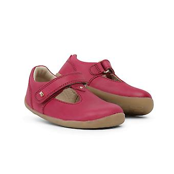 Bobux Step Up Louise Toddler Girls Pink Leather Barefoot T-Bar Shoes