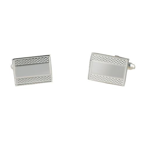 Silver 12x17mm oblong Centre space engine turned swivel Cufflinks