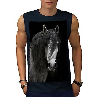 Gloom Dark Horse Men NavySleeveless T-shirt | Wellcoda