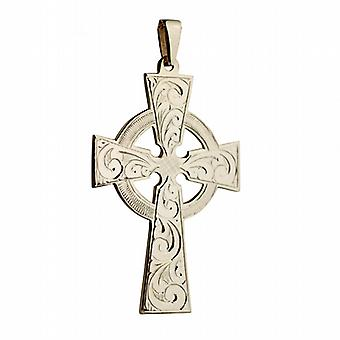 9ct Gold 55x36mm hand engraved Celtic Cross with bail