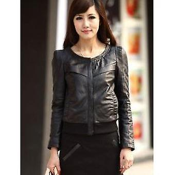 Black Sheep Skin Round Neck Womens Leather Jacket