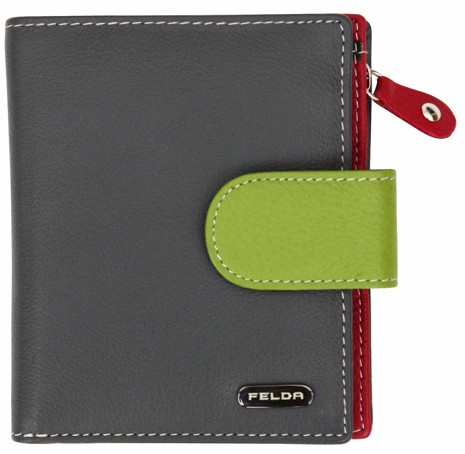 Felda RFID Ladies Coin & Card Purse Wallet Genuine Leather Multi Soft Gift Box