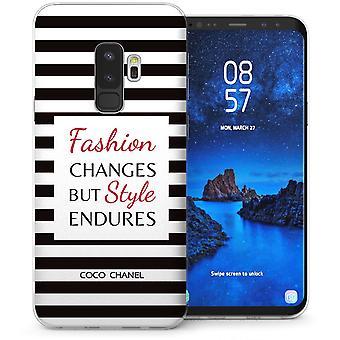 Samsung Galaxy S9 Plus Chanel striber citerer TPU Gel sag-sort