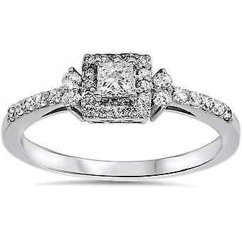 3 / 8ct diamante taglio Princess Vintage Halo fidanzamento promessa 10K anello in oro bianco