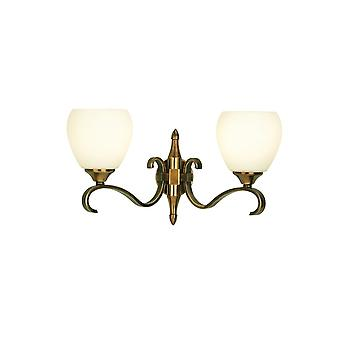 Interiors 1900 63454 Columbia 2 Light Wall Fitting In Antique Brass Fi
