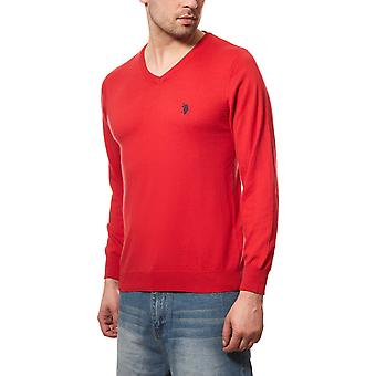 U.S. POLO ASSN. Men's V-neck sweater red Cardigan