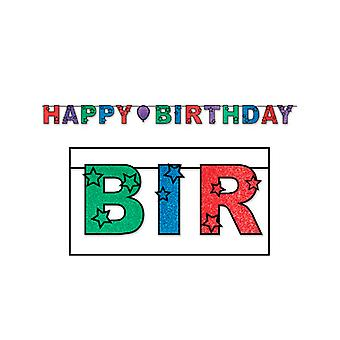 Happy Birthday Glittered Banner