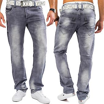 Men's Jeans Light Grey MILO Bleached denim stretch pants Comfort Regular Fit