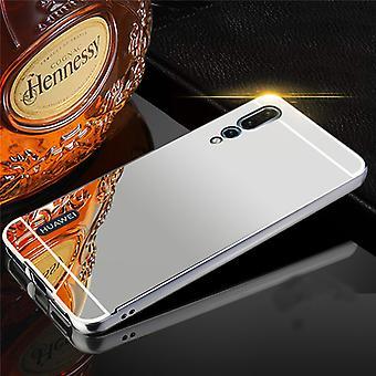 Für Huawei P20 Pro Spiegel / Mirror Alu Bumper 2 teilig mit Abdeckung Silber Tasche Hülle