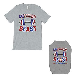 American Beast Training Small Dog and Owner Matching Shirts Grey