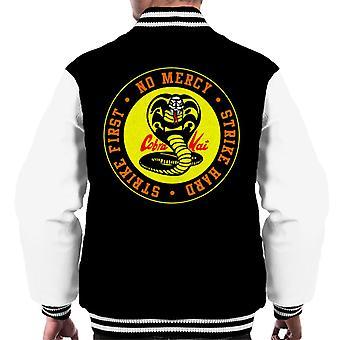 Logo de la serpiente cobra Kai sin misericordia Varsity chaqueta de