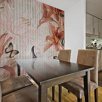 Wallpaper - Flowers and butterflies