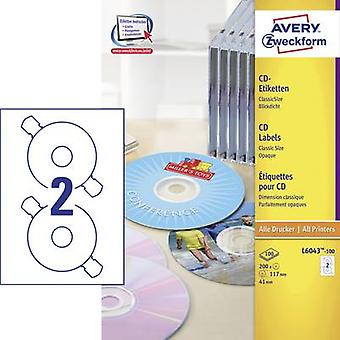 Avery-Zweckform CD labels L6043-100 Ø 117 mm Paper White 200 pc(s) Permanent Opaque Inkjet, Laser