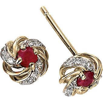 Elements Gold Skylight 9ct Gold Ruby and Diamond Cluster Earrings - Red/Gold
