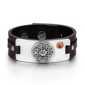 Wolf Pfote keltischer Schild Knoten magische Amulett roter Jaspis Edelstein einstellbare dunkelbraunes Lederarmband