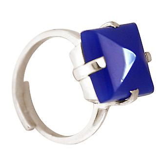Gemshine - women's - ring - 925 Silver - chalcedony - Blue - 12 mm - size adjustable