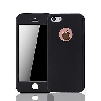 Apple iPhone 5 / 5s cel telefoon case case beschermhoes tank bescherming glas, zwart