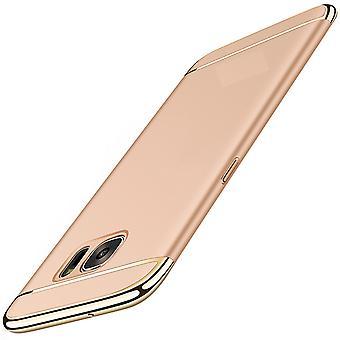 Handy Hülle Schutz Case für Samsung Galaxy A6 2018 Bumper 3 in 1 Cover Chrom Etui Gold